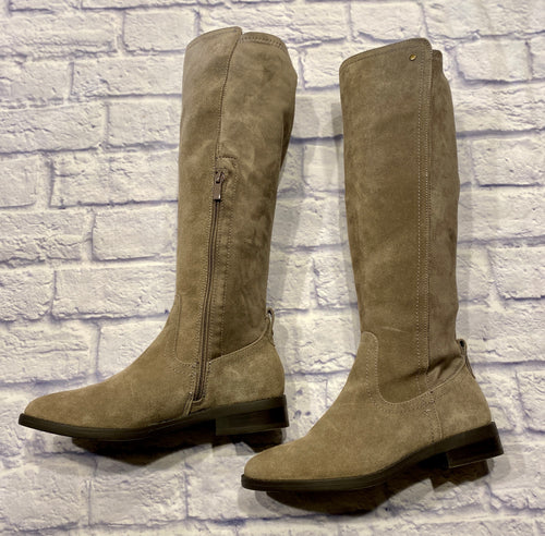 Very Volatile taupe suede knee high boots with soft stretch backing.  Half side zip closure. Like new.