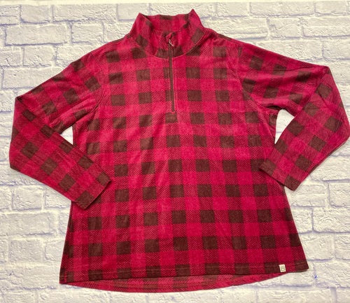 Avalanche black and hot pink plaid pullover fleece with half zip front.  Super soft, lighterweight.