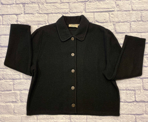Vintage black J.Jill wool jacket with button closure.  Black cord piping up front lapel and collar.  Soft wool, classic style.