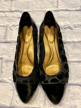 Load image into Gallery viewer, Soft Style black patent slip on flats with velour polka dot pattern on sides and top.  Patent leather toes.  Gold sole, extra comfort.