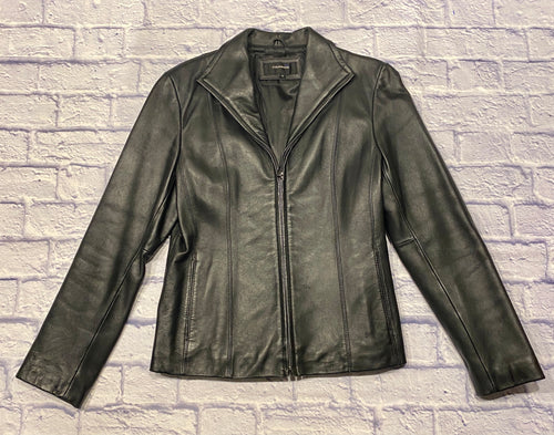Colebrook black leather jacket with zip up front.  Two side slit pockets.  Black satin-like interior lining.  Nice structure, little stretch.