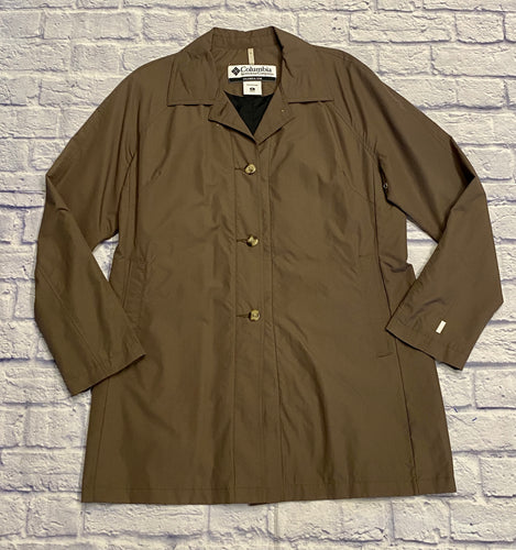 Columbie olive green midi length trench raincoat.  Button front with side pockets.  Black interior lining.  Like new.