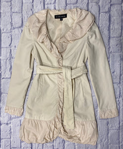 Black Noir cream mid length lightweight trench with pretty ruffle detail on collar and sleeves.  Snap closure and belt waist tie.  So cute!