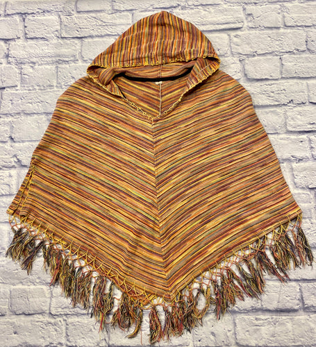 Pink and yellow striped V poncho with hood and fringe.  Yellow stitching on hems, two side slits.