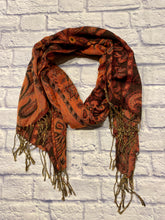 Load image into Gallery viewer, Pashmina orange, brown, and green scarf with paisley design.  Fringe hem.  So soft!