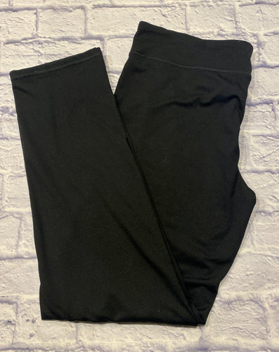 Hanes Sport black active yoga pants with wide waistband and straight leg.