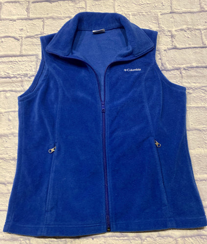 Columbia navy blue fleece vest.  Full zip front with two slant side pockets.  Logo on front left breast.