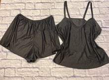 Load image into Gallery viewer, Petra Fashions black satin sleep set, slightly textured ribbed.  Shorts with elastic waist.  Cami with medium width straps and curved V neck.