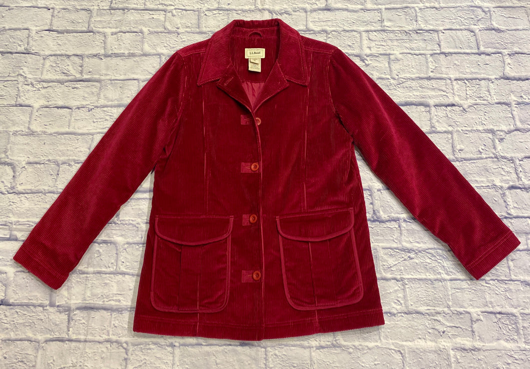 L.L. Bean fuchsia corduroy jacket.  Button down with two front top envelope pockets.  Pink interior lining.  Slit in mid back hem.  New without tags.