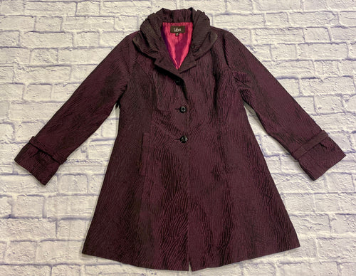 Luii eggplant purple trench with textured crepe pattern.  Fuchsia sating lining.  Two button front closure, button on back of arm hem.  Ruffled collar.  Super cool coat!