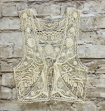 Load image into Gallery viewer, Delicate, sheer lace tie front tank.  Intricate pattern detail.