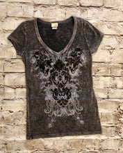 Load image into Gallery viewer, Buckle distressed black t-shirt with decorative front pattern.