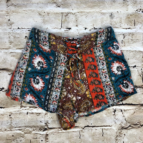 Billabong lounge/sleep shorts in multi pattern with lace up drawstring front.