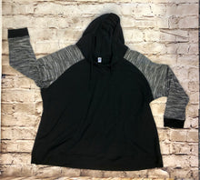 Load image into Gallery viewer, Avenue lightweight black hooded sweatshirt with grey striped arm pattern, drawstring hood, and front pocket.