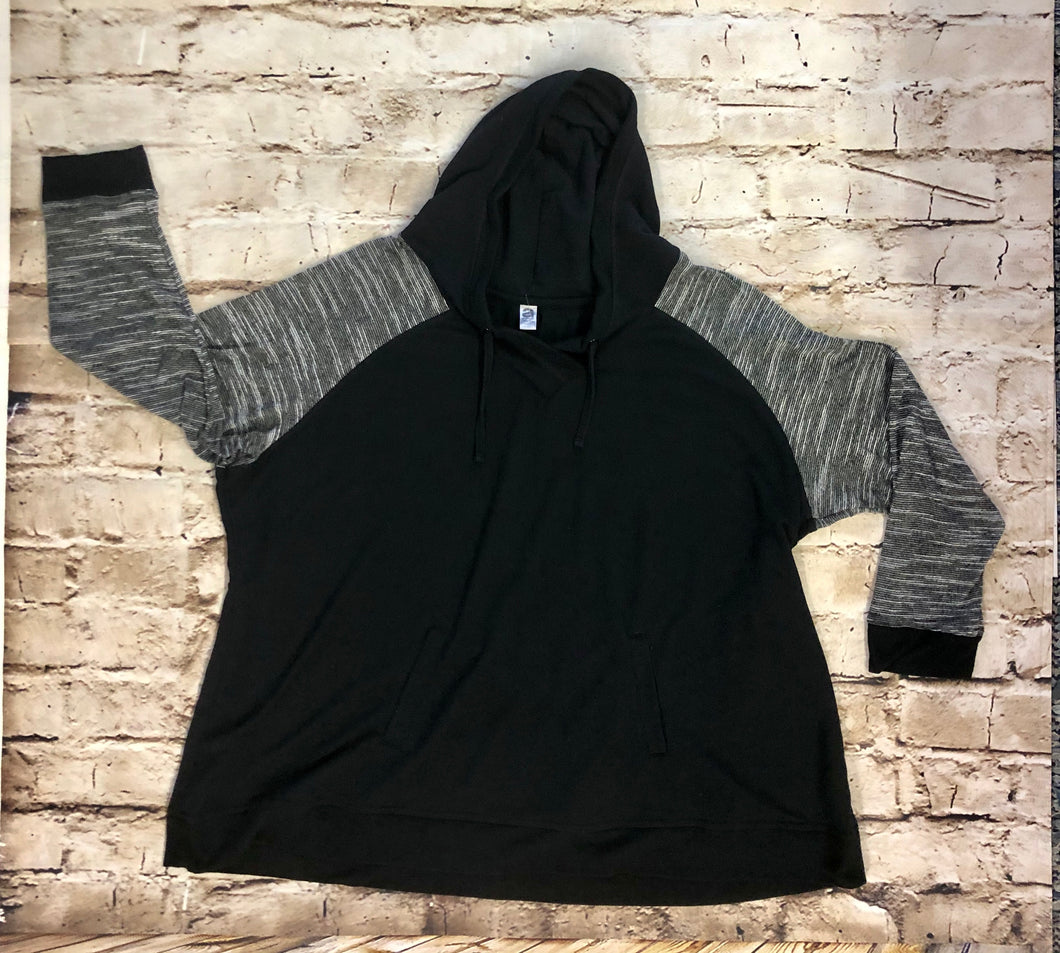 Avenue lightweight black hooded sweatshirt with grey striped arm pattern, drawstring hood, and front pocket.