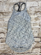 Load image into Gallery viewer, Lulemon active top in grey with black underbra and straps.  Droop back.