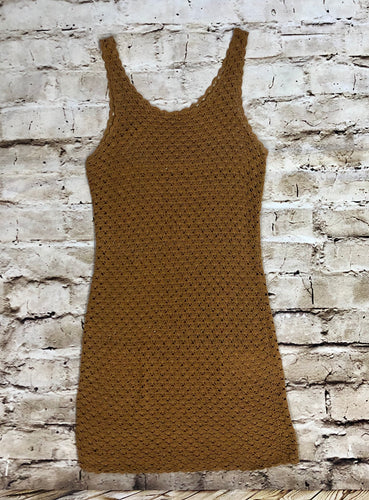 Woven mini dress cover up in brown.