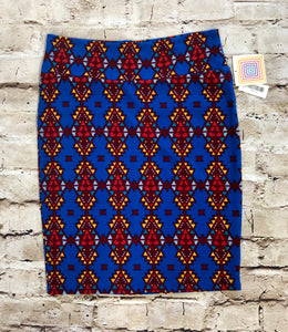 Lularoe blue skirt with red and yellow aztec print.  Very stretchy.