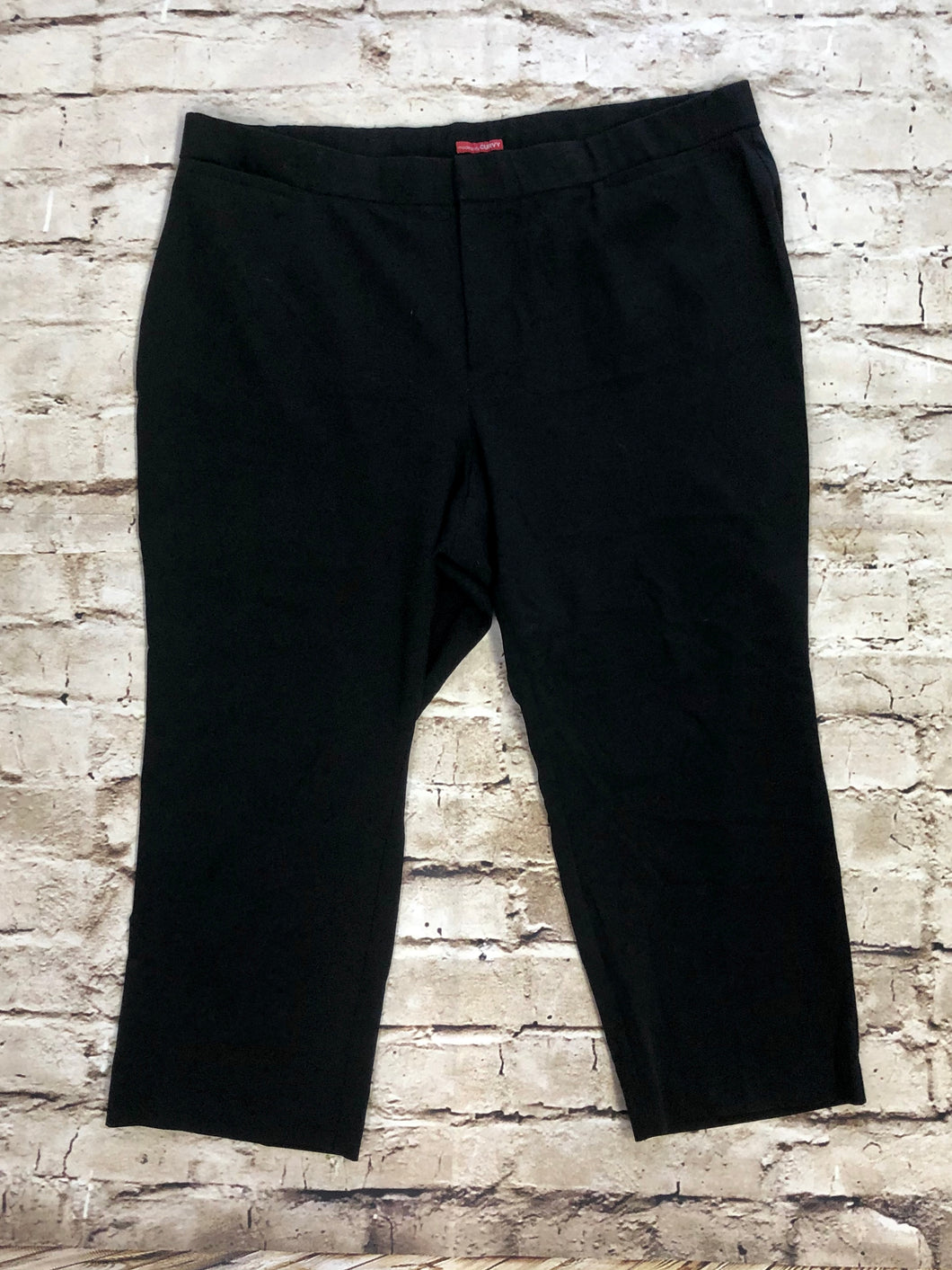 Catherine's petite black slacks with front and back pockets.