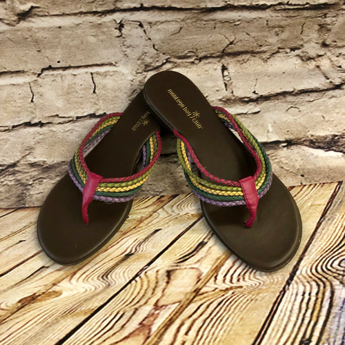 Montego Bay Club sandals with leather woven multi color straps and pink toe divider.