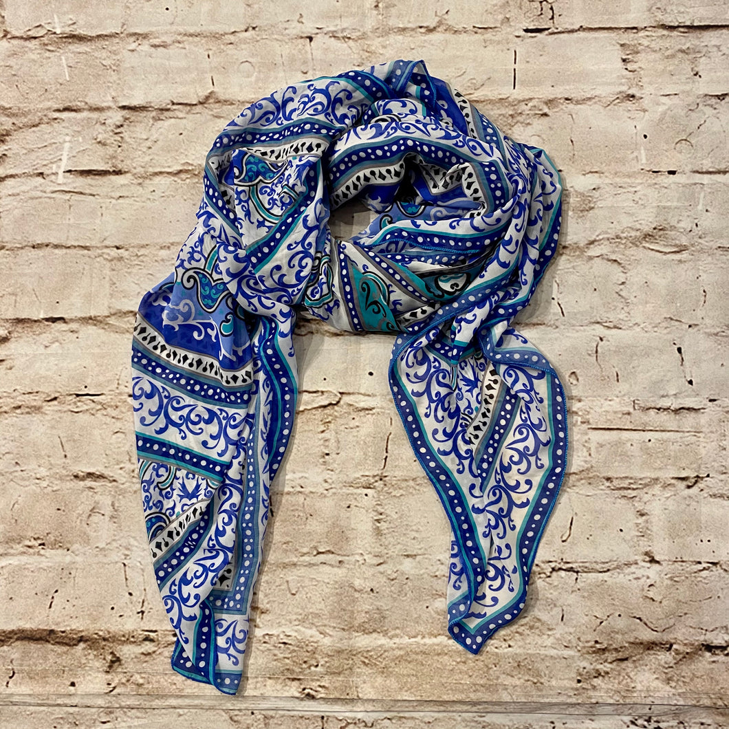 Blue and Teal Paisley Scarf