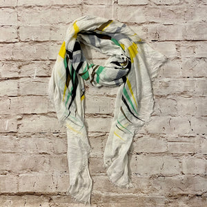 Topshop white scarf with green, black, and yellow stripes.