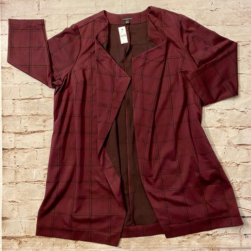 Lane Bryant maroon jersey blazer with black check pattern.