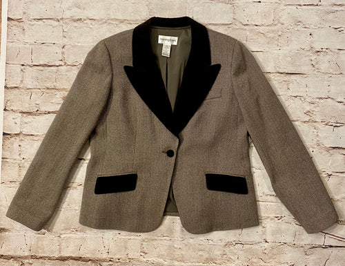 Bloomingdales vintage tweed cropped blazer with brown velour lapel, buttons, and pockets.