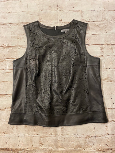 Classiques Entier black leather lazer cut front shell top.  Like new.