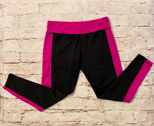 Finesse stretch active bottoms, black with hot pink waistband and leg stripes.