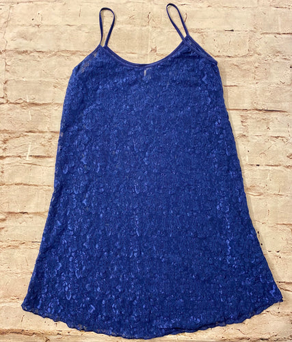 Royal blue teddy sheer lace slip.