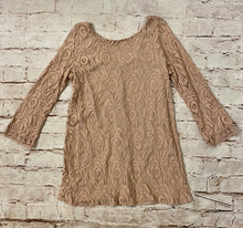 Load image into Gallery viewer, Dusty rose mini lace party dress with long sleeves and underlay.