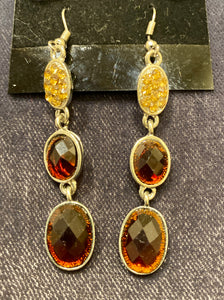 Amber Toned Three Gem Earrings