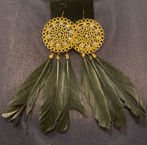 Gold plate and rhinestone round earrings with black feather offshoots.