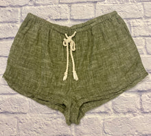 Load image into Gallery viewer, Mossimo olive green linen blend shorts with drawstring waist, cream cord tie.  So cute!
