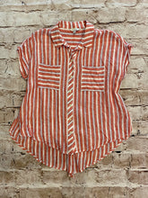 Load image into Gallery viewer, Lucky Brand button down linen short sleeve top in red and white stripes with split tie back.