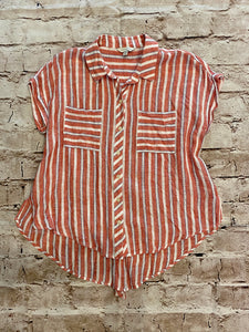 Lucky Brand button down linen short sleeve top in red and white stripes with split tie back.