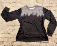 Load image into Gallery viewer, Grey and black forest silhouette long sleeve top.  Soft fabric lining.