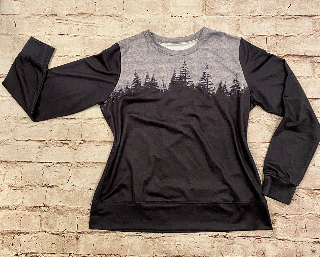 Grey and black forest silhouette long sleeve top.  Soft fabric lining.