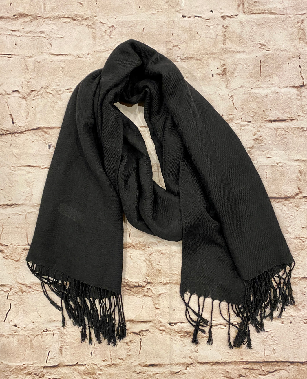 Black pashmina and silk scarf.