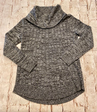 Load image into Gallery viewer, Cupio heathered grey sweater with cowl neck and front pocket detail.  Very soft.