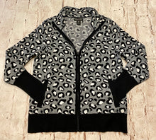 Load image into Gallery viewer, Rachel Zoe cheetah print grey and black front zip cardigan with pockets.  NWOT.