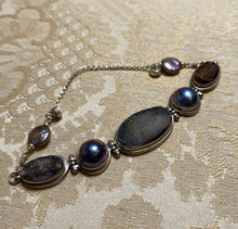Load image into Gallery viewer, Druzy and Pearl Sterling Silver Bracelet