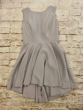 Load image into Gallery viewer, JJ's House lavender/grey high neck cocktail dress with back cut out and full skirt.