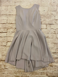 JJ's House lavender/grey high neck cocktail dress with back cut out and full skirt.