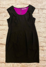 Load image into Gallery viewer, Marc New York little black dress with fuchsia lining and silver exposed zipper back.
