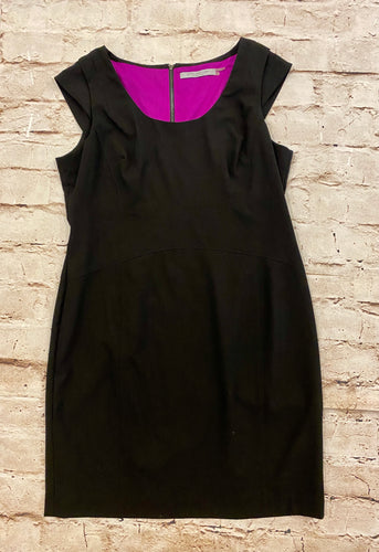 Marc New York little black dress with fuchsia lining and silver exposed zipper back.