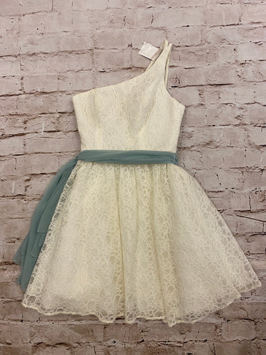 Mari Lee white lace overlay mini with one shoulder and green chiffon sash.  New with tags.