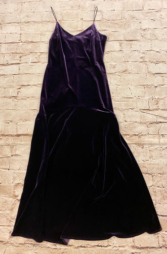 Hillard & Hanson eggplant velvet spaghetti strap maxi with mermaid cut and lace up back.