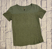 Load image into Gallery viewer, Kuhl olive green striped fitted t-shirt.  Scoop neck, high performance.